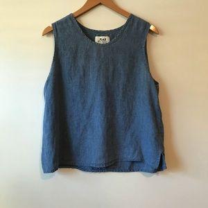FLAX Sleeveless Linen Top Denim Blue
